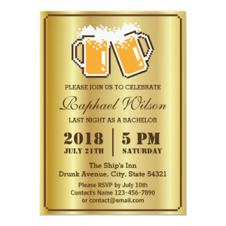 """Cool Gold Pixel Beers Bachelor Party Card 5"""" X 7"""" Invitation Card"""