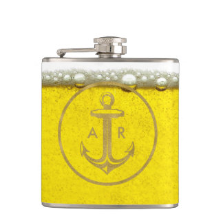 Cool Golden Anchor | Beer Bubbles Hip Flask