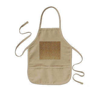 Cool Golden Glitter Chevron Pattern Kids Apron