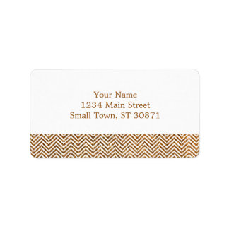 Cool Golden Glitter Chevron Pattern Label