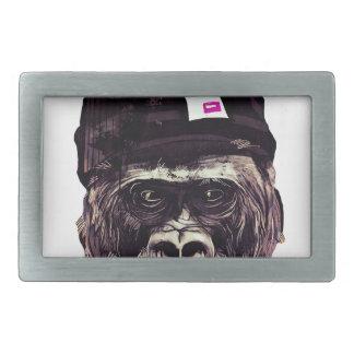 Cool Gorilla with cap Rectangular Belt Buckles
