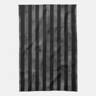 Cool goth punk grungy black and gray dark stripes kitchen towel