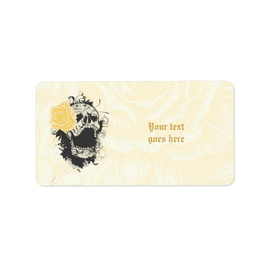 Cool gothic skull and yellow rose custom label