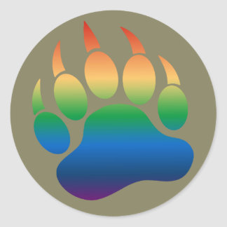 Cool Gradient Pattern Gay Bears Pride Bear Paw Round Sticker