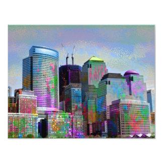 "Cool graffiti splatters watercolours New York city 4.25"" X 5.5"" Invitation Card"