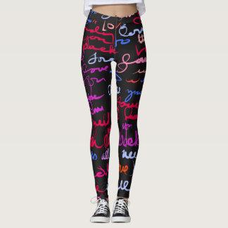 Cool Graffiti Style Love Grunge Pattern on Black Leggings