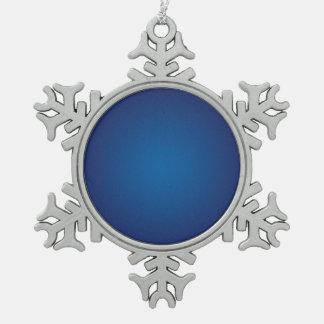 Cool Grainy Deep Blue Vignette Snowflake Pewter Christmas Ornament