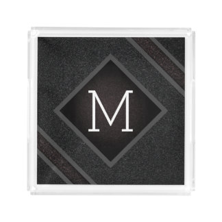 Cool Gray & Black Asphalt Effect With Monogram Acrylic Tray