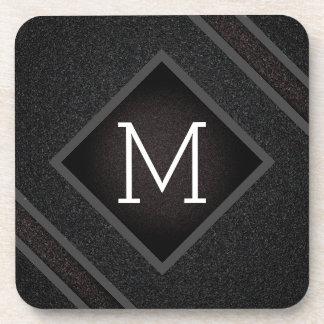 Cool Gray & Black Asphalt Effect With Monogram Coaster