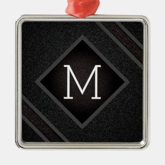 Cool Gray & Black Asphalt Effect With Monogram Metal Ornament