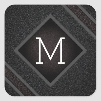 Cool Gray & Black Asphalt Effect With Monogram Square Sticker