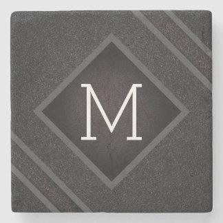 Cool Gray & Black Asphalt Effect With Monogram Stone Coaster