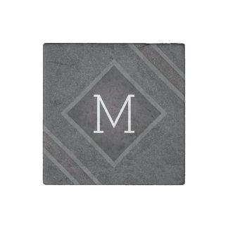 Cool Gray & Black Asphalt Effect With Monogram Stone Magnets