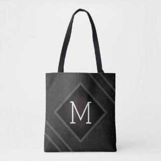 Cool Gray & Black Asphalt Effect With Monogram Tote Bag