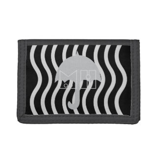 Cool Gray Black Umbrella Add Initials Wallet