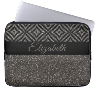 Cool Gray Glitter Black pattern With Name Laptop Sleeve