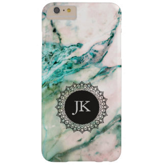 Cool Gray & Green Marble GR3 Monogram Barely There iPhone 6 Plus Case