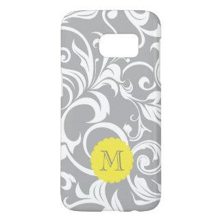 Cool Gray Yellow Floral Wallpaper Swirl Monogram Samsung Galaxy S7 Case