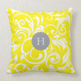 Cool Gray Yellow Floral Wallpaper Swirl Monogram Throw Pillow