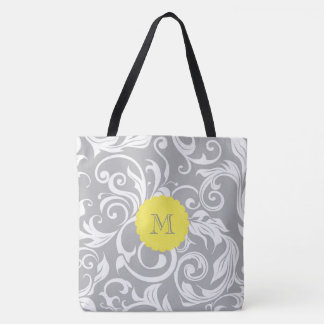 Cool Gray Yellow Floral Wallpaper Swirl Monogram Tote Bag