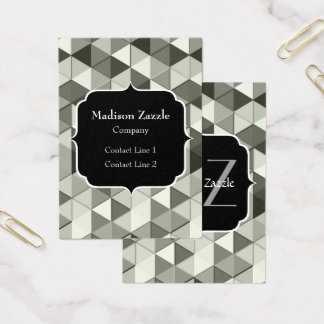Cool Grayscale triangle geometric pattern Monogram Business Card
