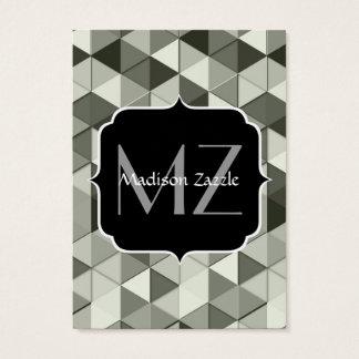 Cool Grayscale triangle geometric pattern Monogram Business Card