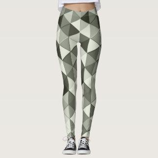 Cool Grayscale triangles geometric pattern Leggings
