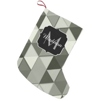 Cool Grayscale triangles geometry pattern Monogram Small Christmas Stocking
