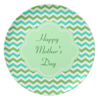 Cool, green, blue chevron happy mother's day dinner plates