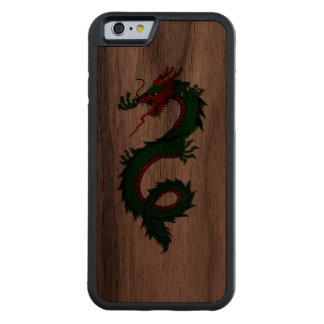 Cool green Chinese dragon tattoo Carved Walnut iPhone 6 Bumper Case