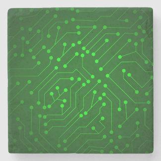 Cool Green Circuit Board Design Stone Beverage Coaster