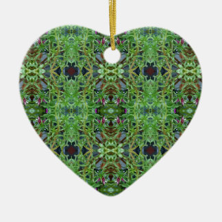 Cool Green Funky Kaleidescope Pattern Ceramic Heart Ornament
