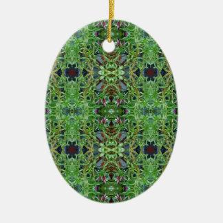 Cool Green Funky Kaleidescope Pattern Ceramic Oval Ornament