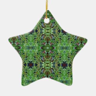Cool Green Funky Kaleidescope Pattern Ceramic Star Ornament