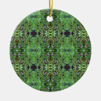 Cool Green Funky Kaleidescope Pattern Round Ceramic Ornament