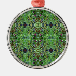 Cool Green Funky Kaleidescope Pattern Silver-Colored Round Ornament