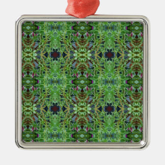 Cool Green Funky Kaleidescope Pattern Silver-Colored Square Ornament