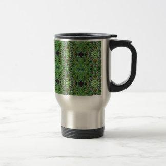 Cool Green Funky Kaleidescope Pattern Travel Mug