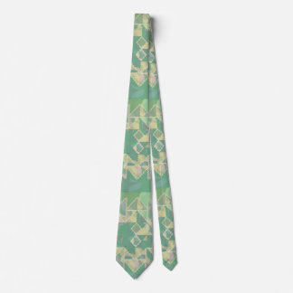 Cool Green Geometric Wavy Pattern Tie