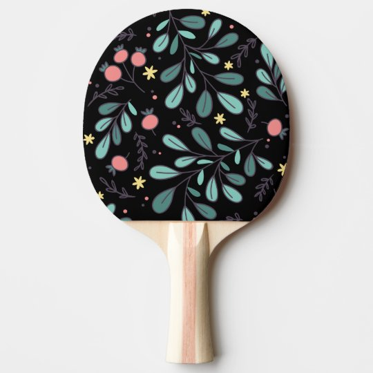 Cool green sketchy plant illustrated chic pattern ping pong paddle
