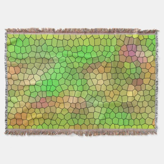 Cool Green Stained Glass Pattern Throw Blanket