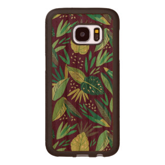Cool Green Tropical Leafs Pattern G8 Wood Samsung Galaxy S7 Case
