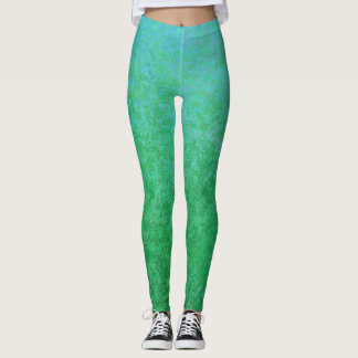 Cool Green Variations with Gradient Leggings