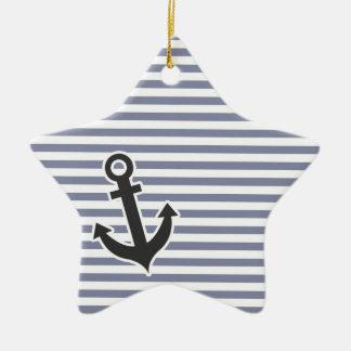 Cool Grey Horizontal Stripes; Anchor Ceramic Star Ornament