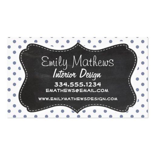 Cool Grey Polka Dots; Retro Chalkboard Business Card