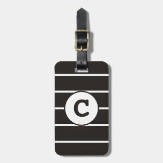 Cool Grey White Striped Monogram Luggage Tag