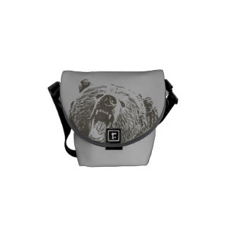 Cool Grizzly Bear Roar Hand Drawn Commuter Bag