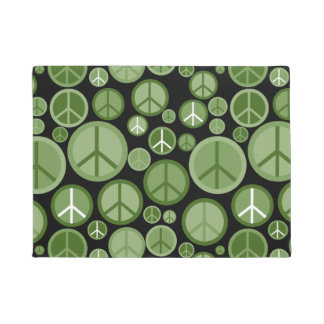 Cool Groovy Green Peace Symbols Doormat