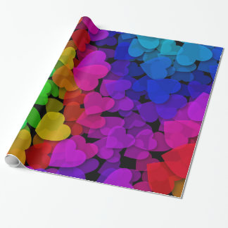 Cool Groovy Hearts Rainbow Wrapping Paper