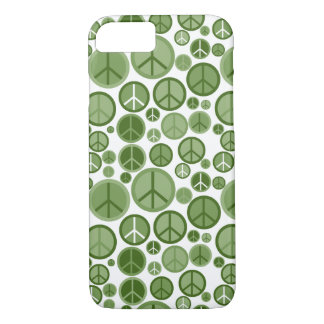 Cool Groovy Sage Green Peace Symbols iPhone 8/7 Case